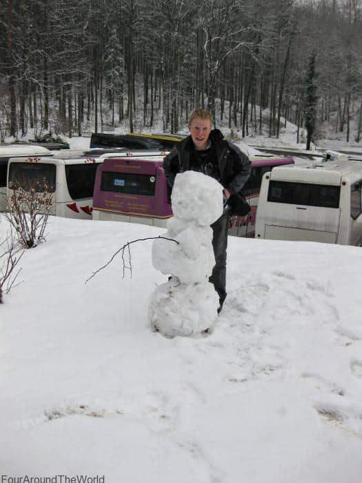 building a snowman in Zakopane winter