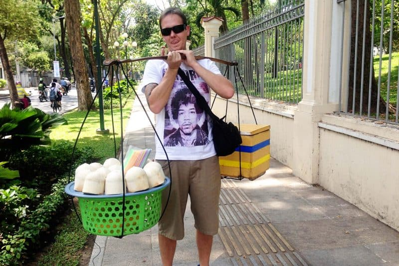 Coconut carrying in HCMC VIetnam