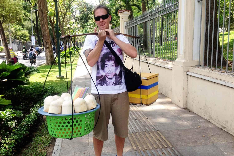 Coconut carrying in HCMC VIetnam