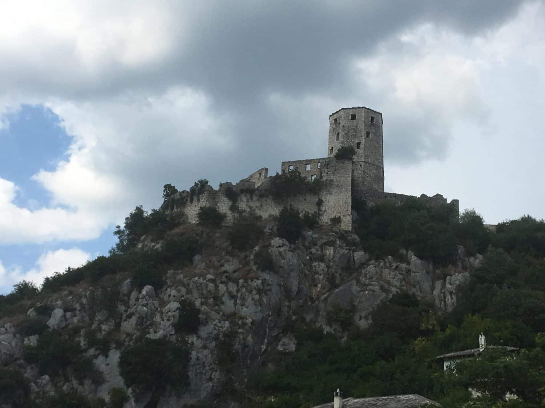 Ruins on top of hill between Mostar and Dubrovnik - village of Počitelj