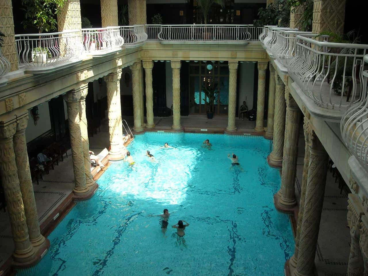 Visiting the budapest gellert baths with kids four around the world for Does buckingham palace have a swimming pool