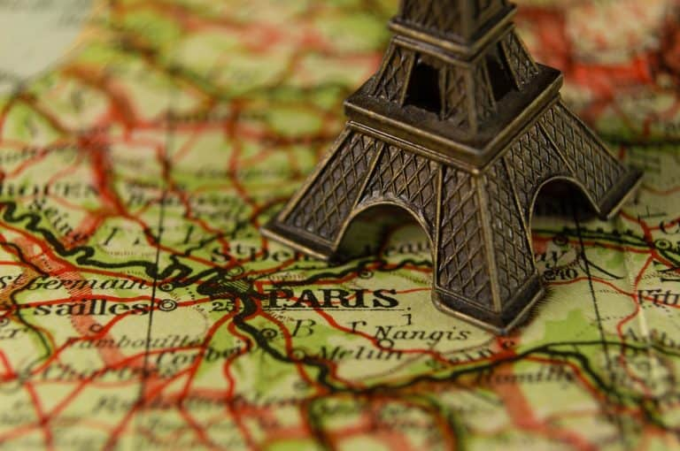 map with eiffel tower ornament