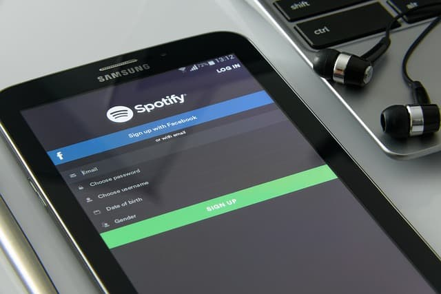 Spotify on phone screen