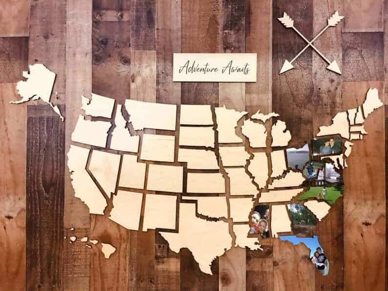 Etsy wooden photo map wall decor