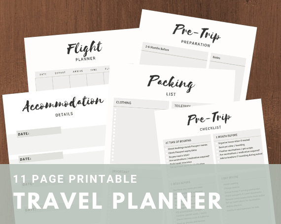 Printable travel planner bundle