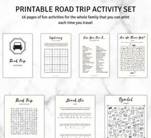 road trip activity printables kit