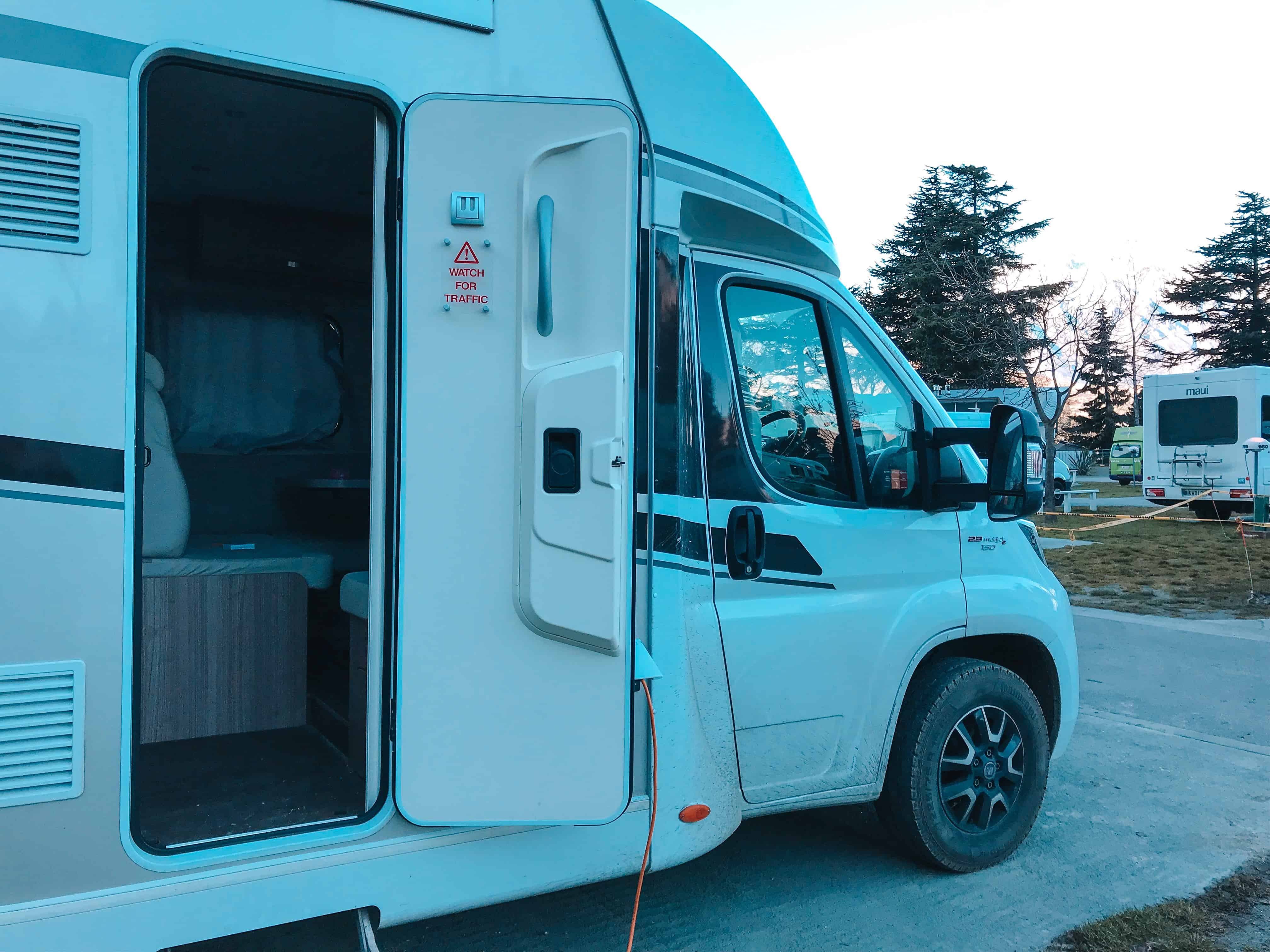Wilderness Motorhomes van parked at Queenstown caravan park