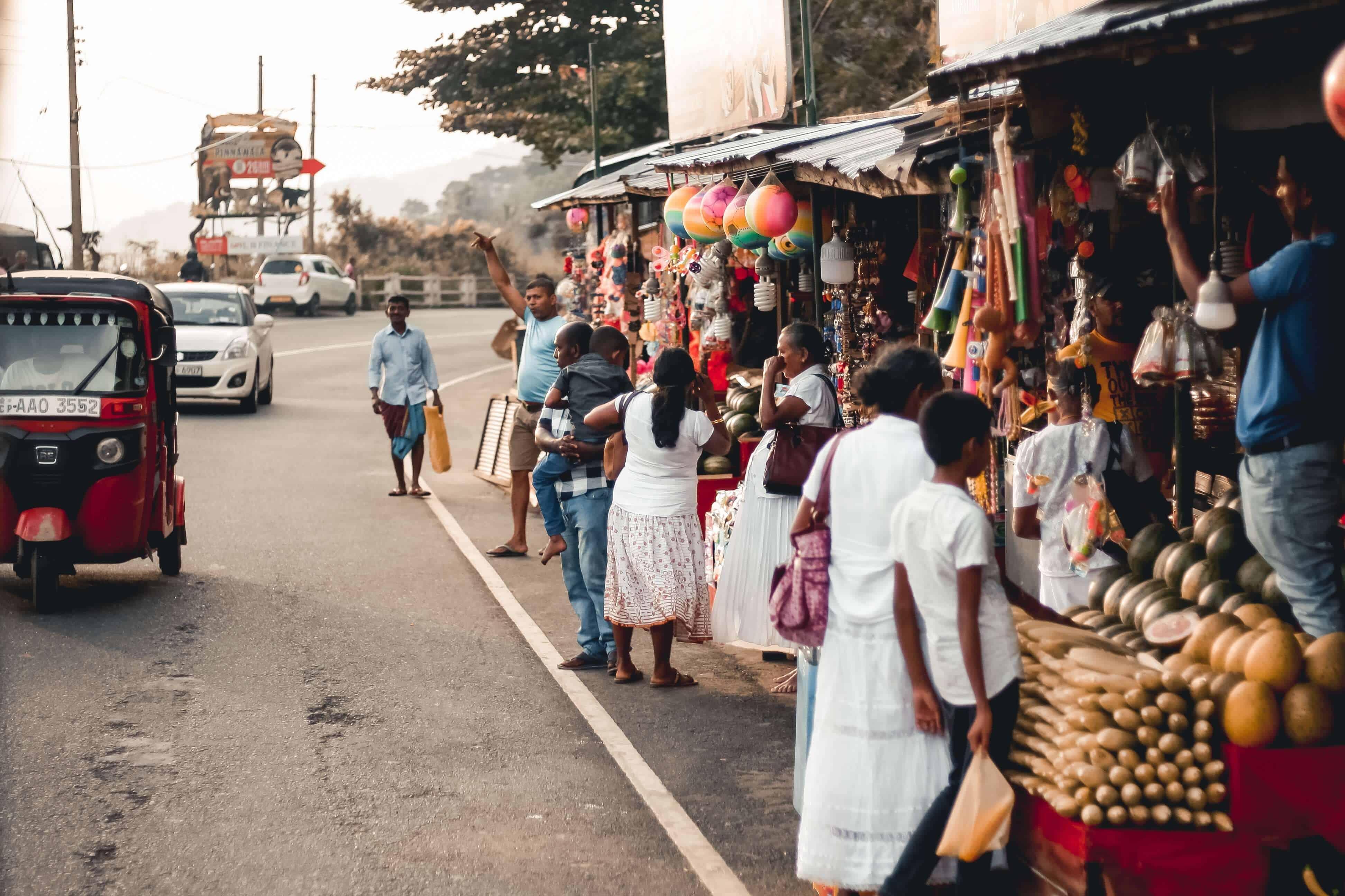 People along street in Colombo