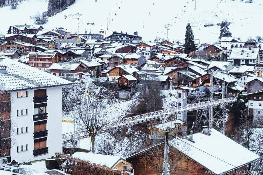 morzine town with snow