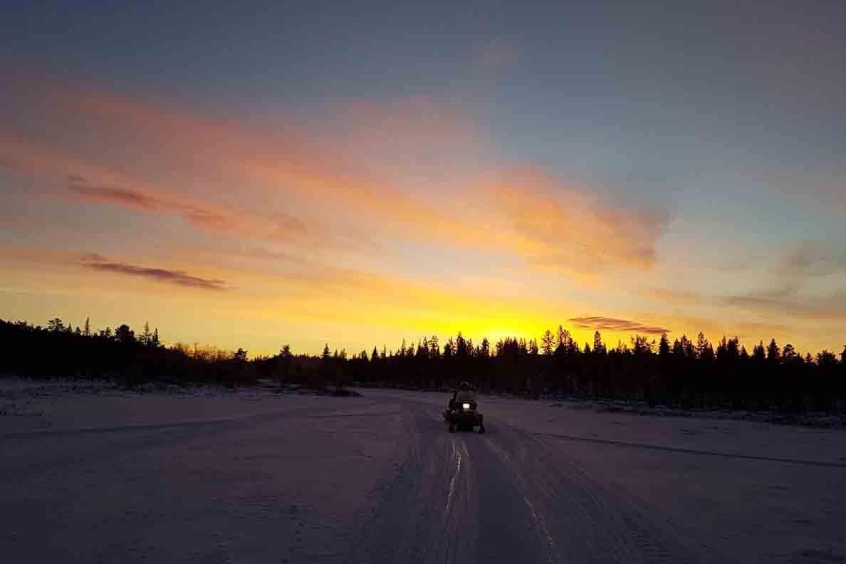kiruna sunset in winter