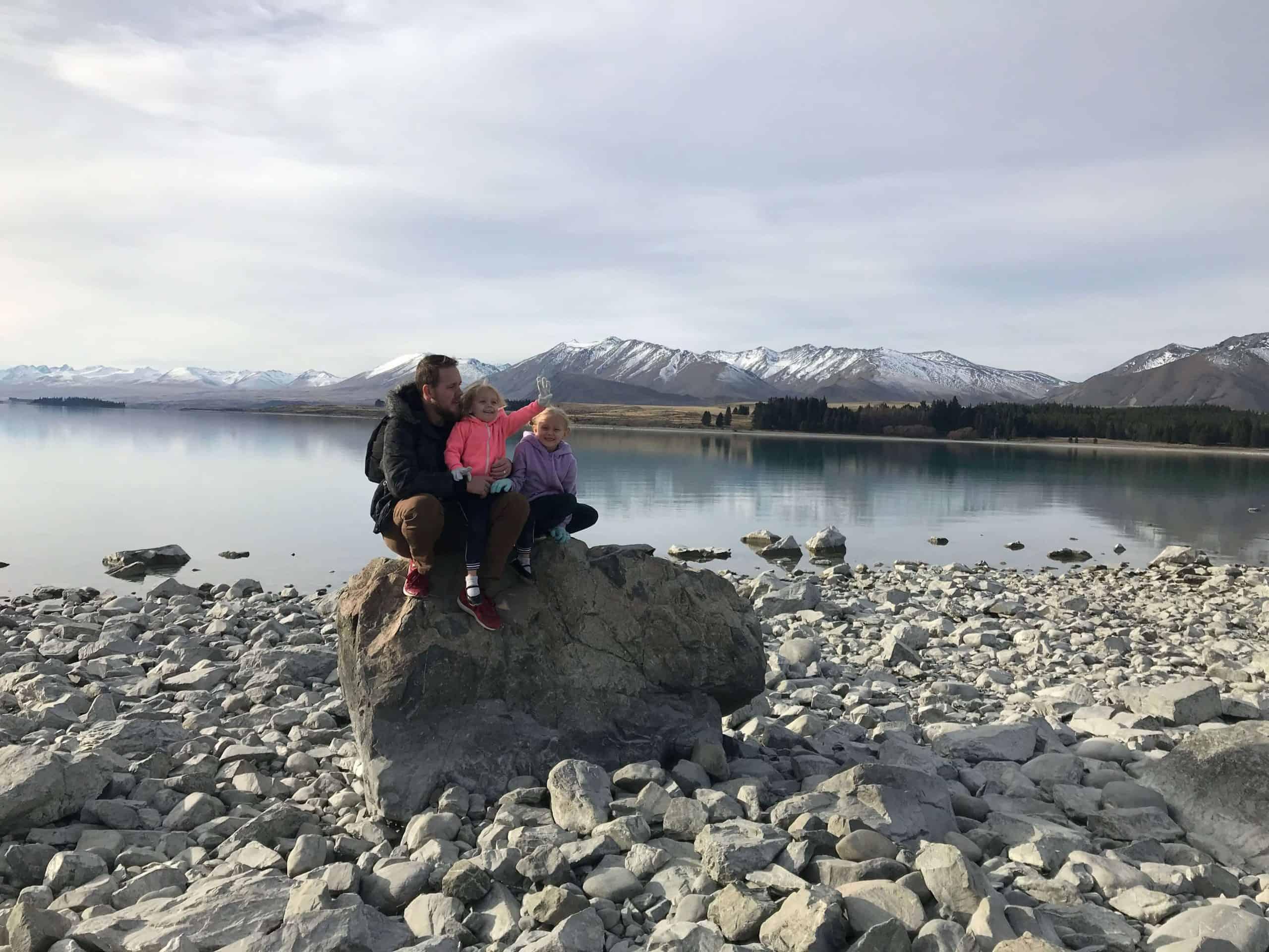 Lake Tekapo with kids by lake