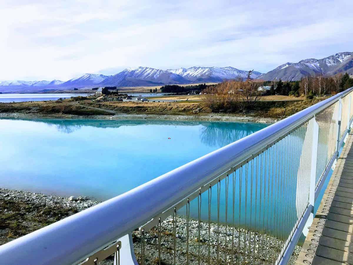 view from lake tekapo footbridge