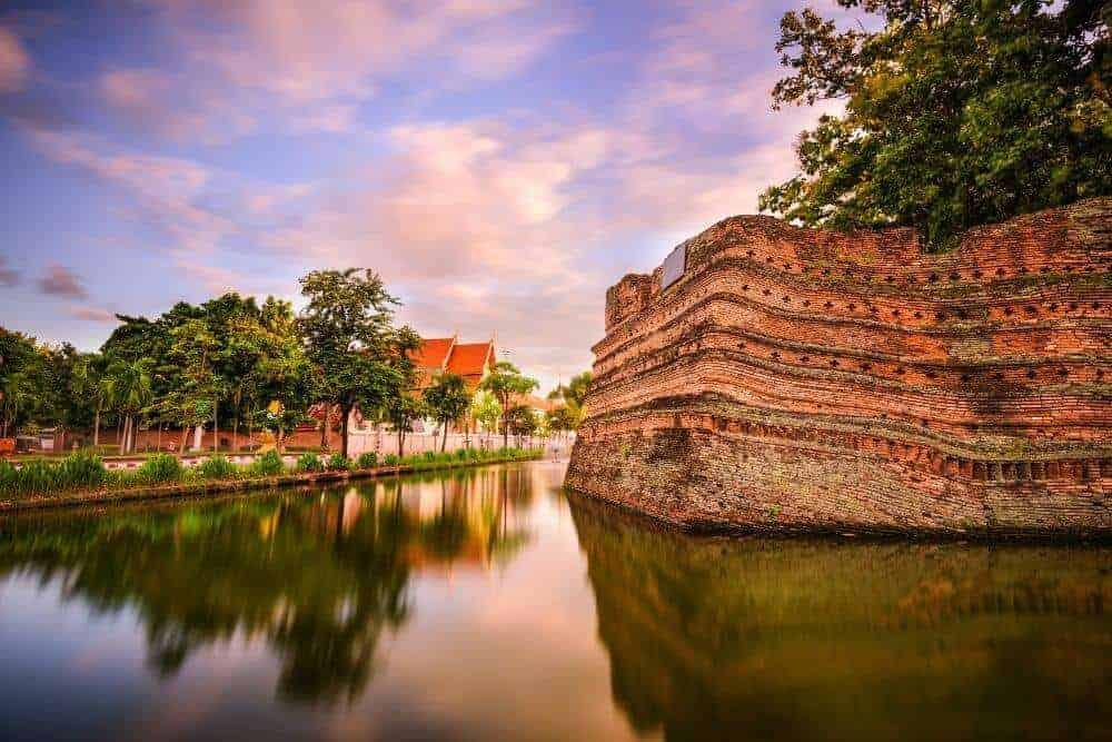 Old town wall chiang mai thailand