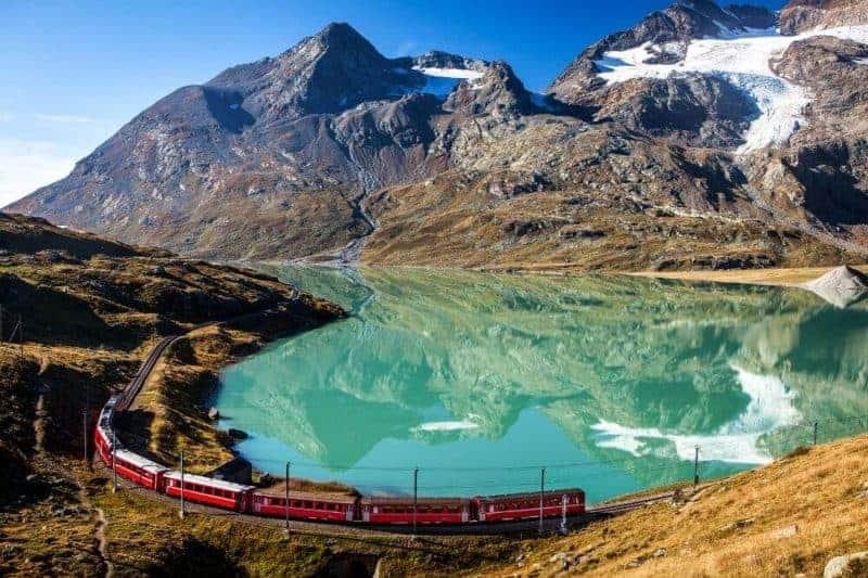 Train getting around switzerland