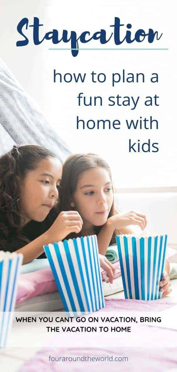 Family staycation at home with kids
