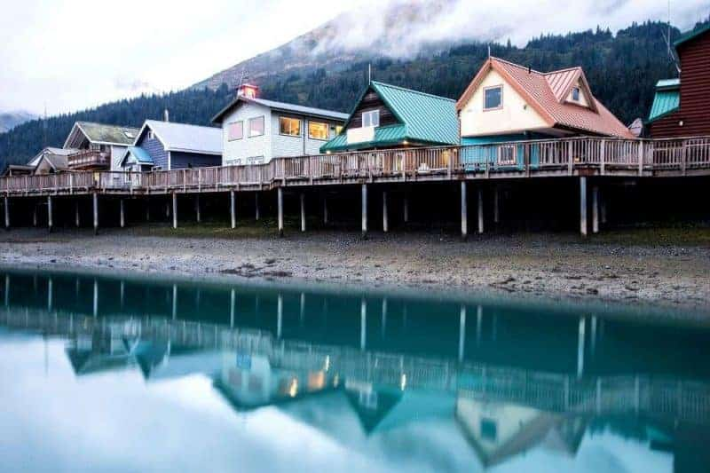 Colourful houses by water in Seward