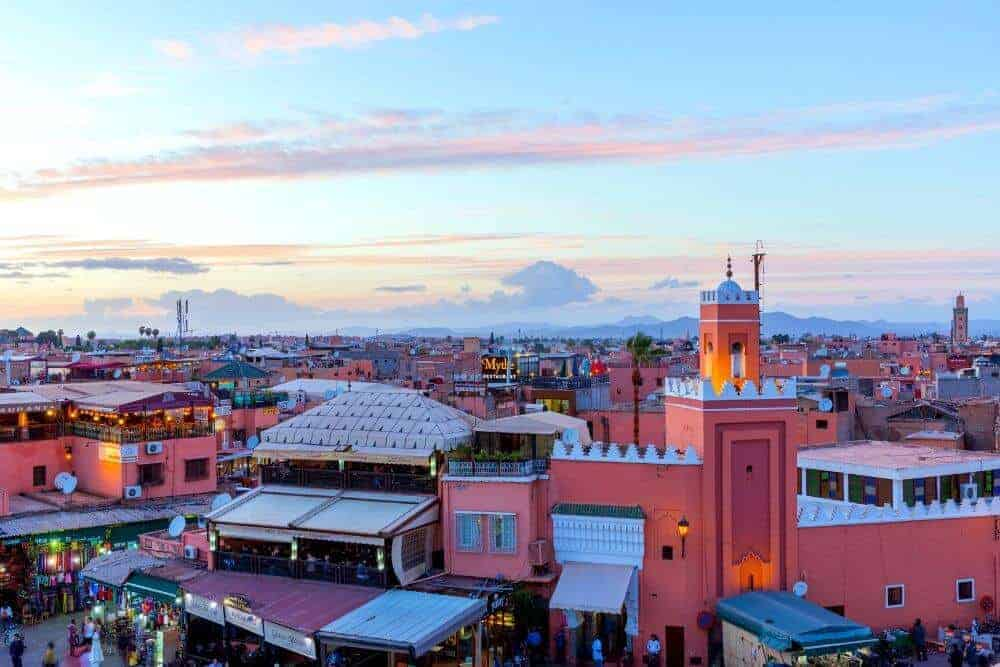 sunset over marrakesh souks