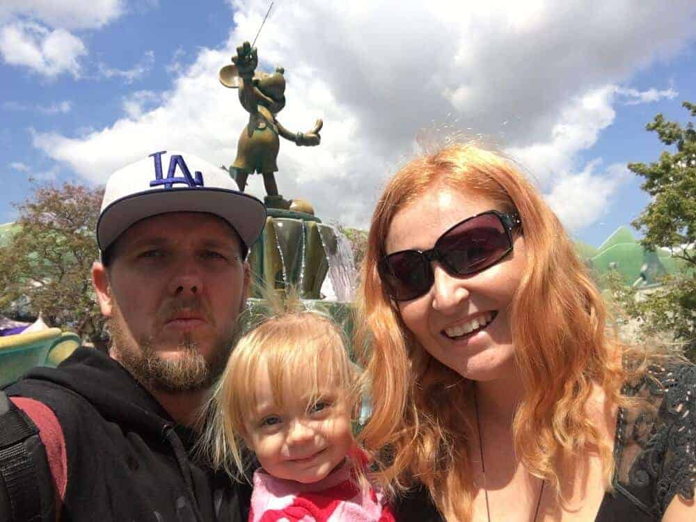 Us in front of mickey statue