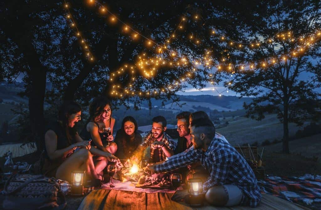 Camping with string lights