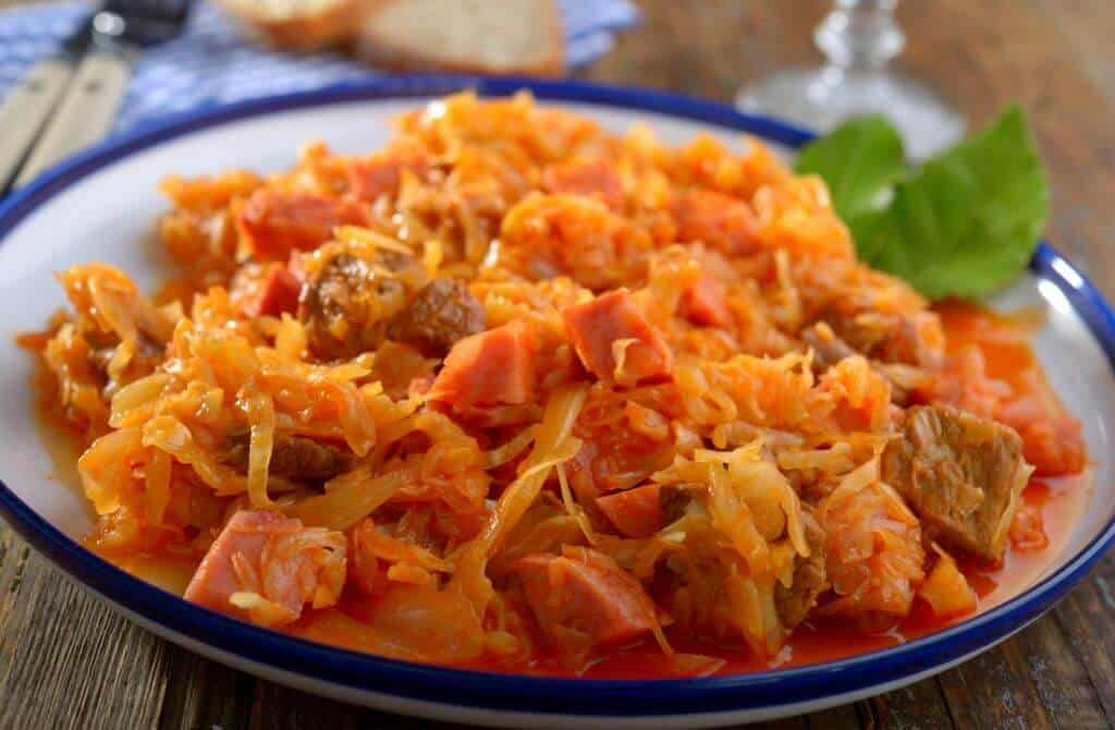 bigos meat and cabbage stew