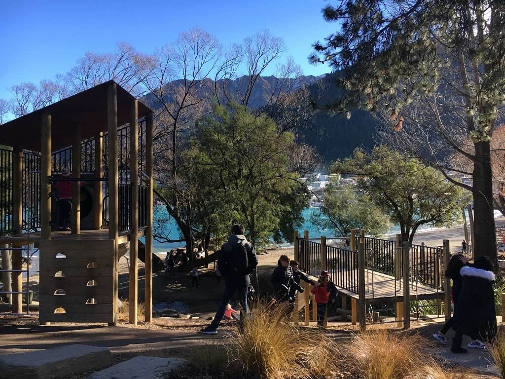 Queenstown with kids playground by the lake