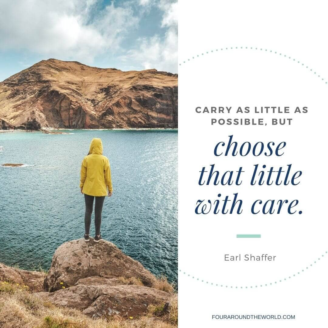 carry as little as possible travel quote
