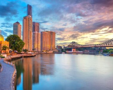 Brisbane city along brisbane river