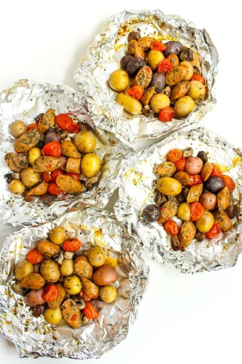 sausage and veggie foil packets