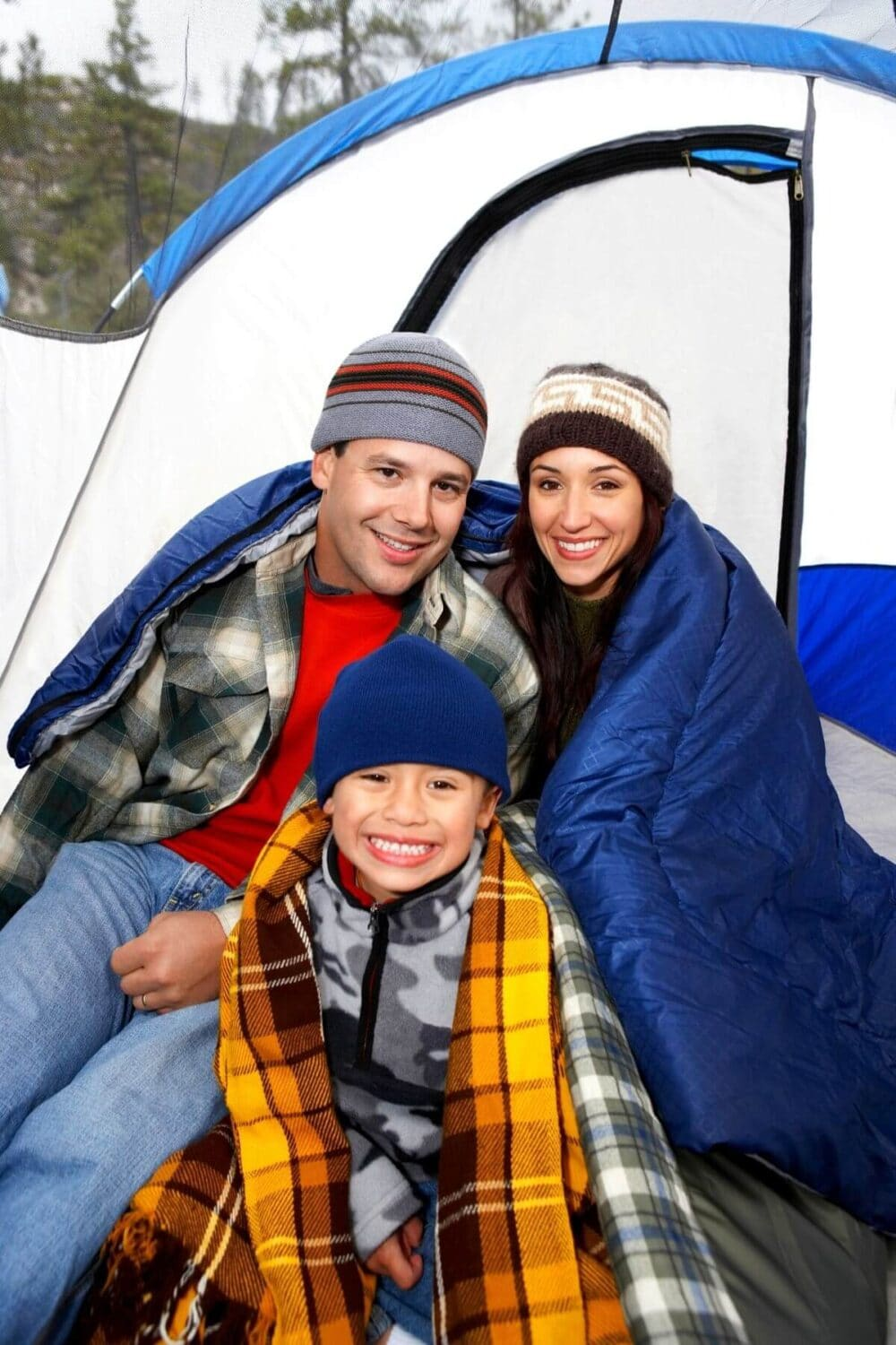 family camping in winter