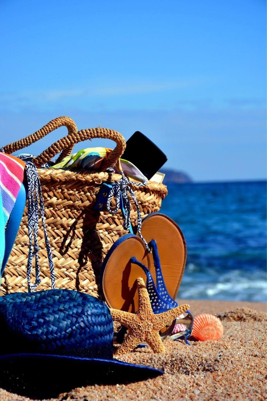 beach bag packed with essential beach gear