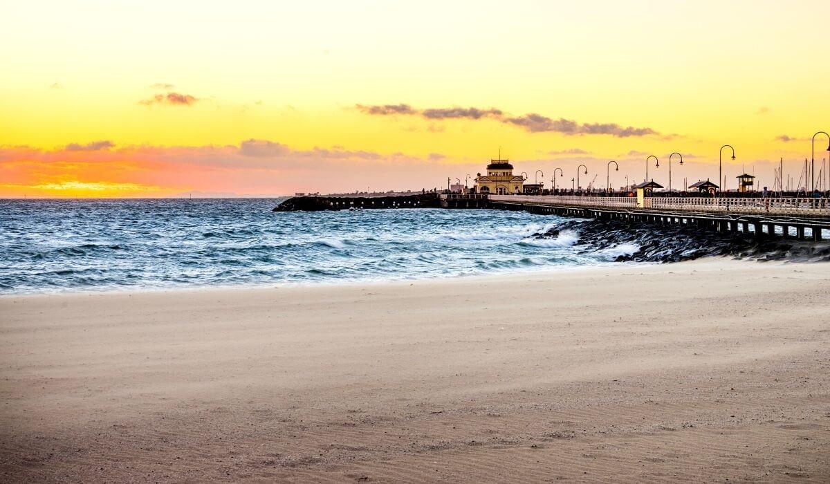 st kilda beach at sunset