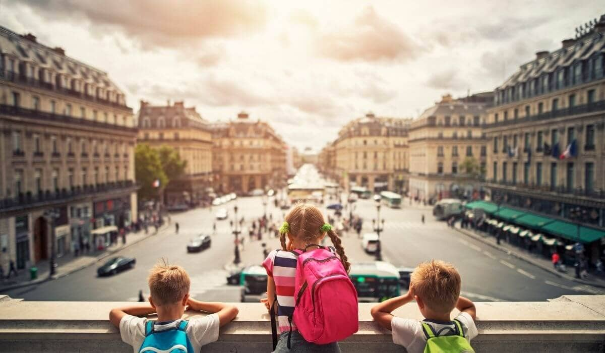kids visiting Paris