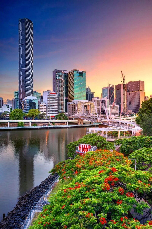 Brisbane city scape sunrise