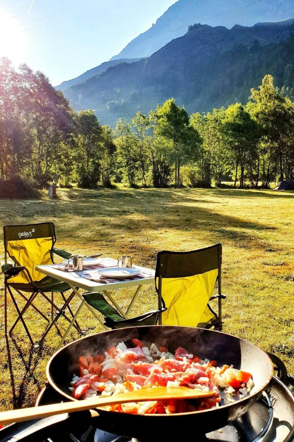camp breakfast with view