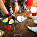 cooking breakfast on camping trip