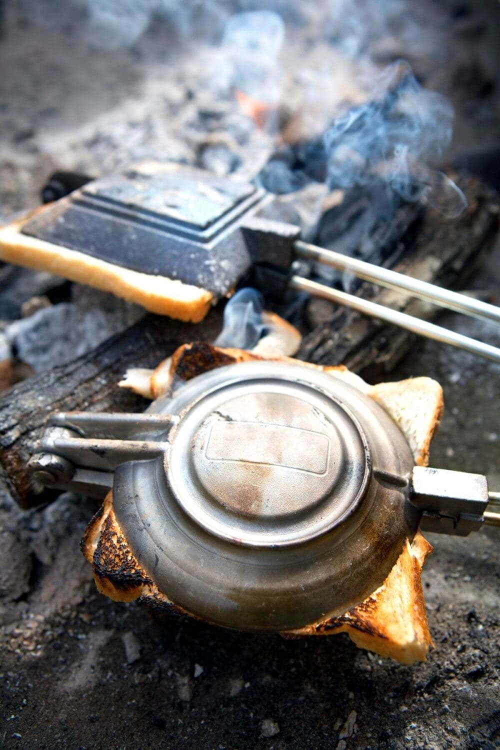 camp cooking with a pie iron