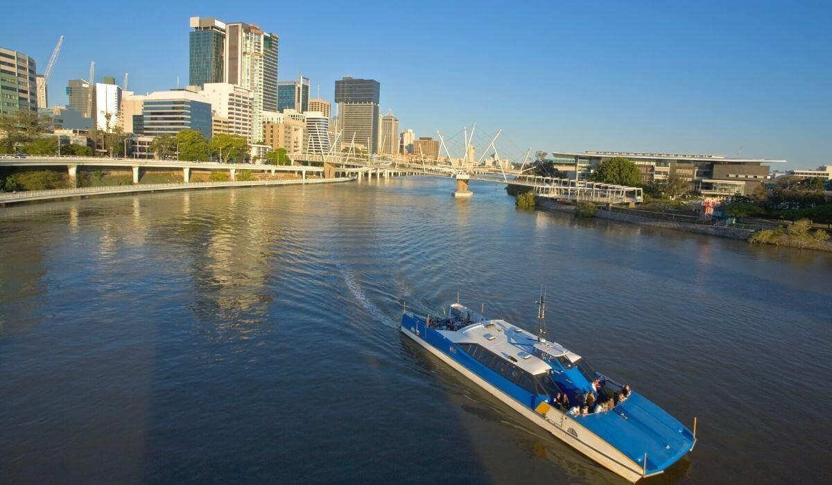 Brisbane City Cat Ferry along river