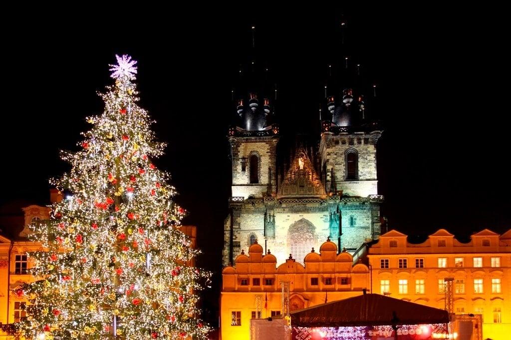 Prague Christmas Market Nighttime