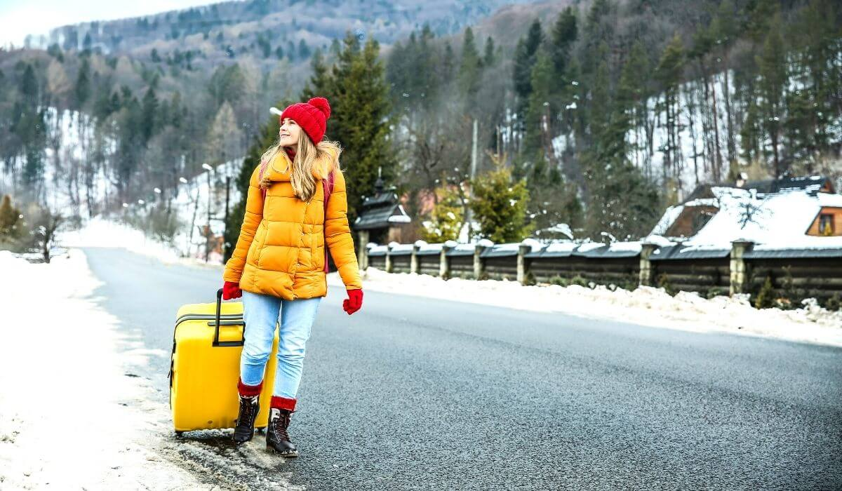 woman visiting europe in winter